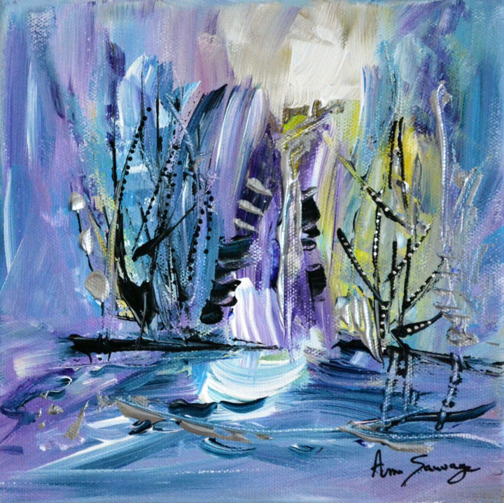 Arbres d'hiver - Painting,  20x20x2 cm ©2017 by ame sauvage -                                                                                                            Abstract Art, Contemporary painting, Canvas, Tree, Abstract Art, Flower, Nature, tableau abstrait, tableau nature, tableau arbre, tableau moderne, tableau contemporain, peinture abstraite, peinture moderne, peinture contemporaine, tableau 20 x 20 cm, tableau carré