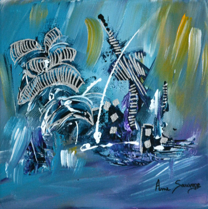 Les sauts dauphin - Painting,  20x20x2 cm ©2017 by ame sauvage -                                                                                    Abstract Art, Contemporary painting, Canvas, Animals, Abstract Art, tableau dauphin, tableau bleu, tableau abstrait, tableau contemporain, peinture abstraite, peinture moderne, tableau moderne