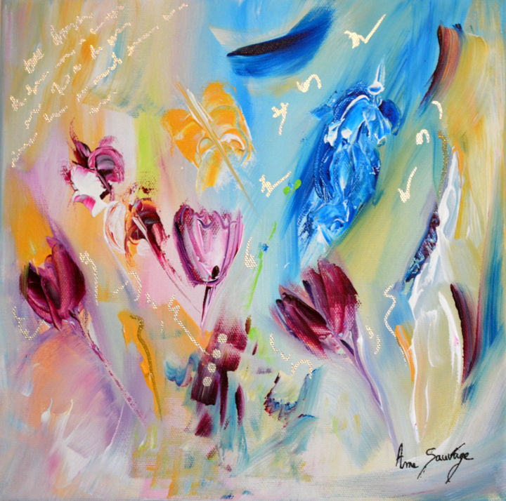 Belles tulipes - Painting,  30x30x2 cm ©2017 by ame sauvage -                                                                                    Abstract Art, Contemporary painting, Canvas, Flower, Nature, tableau abstrait fleurs, tableau tulipes
