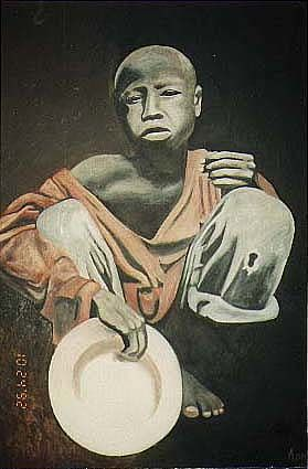 SOMALI  VICTIM - Painting,  30x42 in ©1990 by Khatri Aamir -