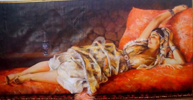 Esperando En el Sofa - Painting,  150x75 cm ©2012 by Amkhaou -                        World Culture
