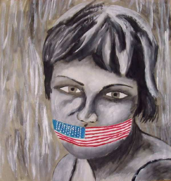 US Censorship - Drawing ©2001 by The Lilith Gallery Alexander Moffat's -