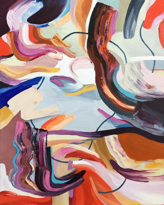 """Painting titled """"""""Storm"""" Abstract Oi…"""" by Ana Costov, Original Art, Oil Mounted on Wood Panel"""
