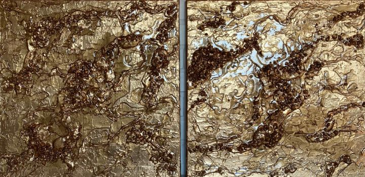 """Painting titled """"Water on gold"""" by Ana Maksi, Original Art, Resin"""