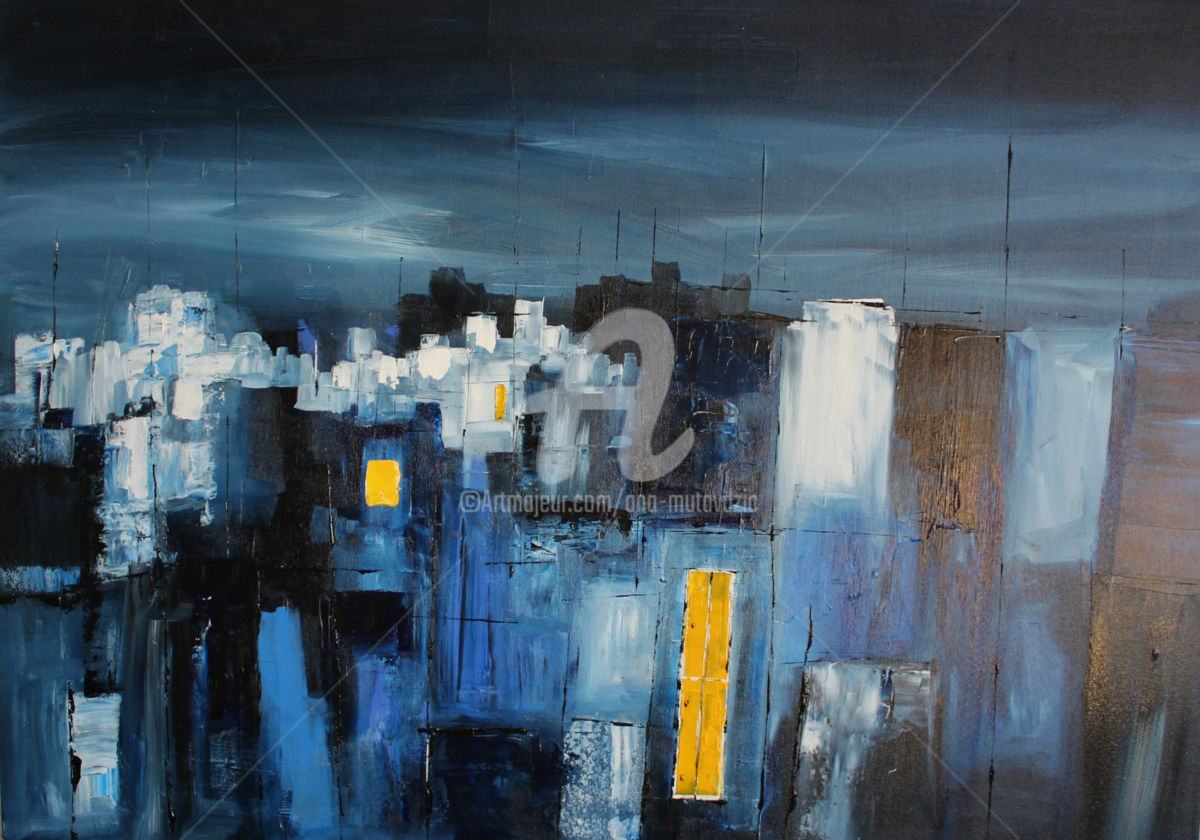Keep the Lights On - ©  painting, cityscape Online Artworks