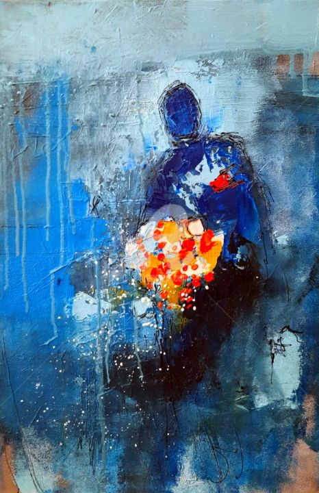 """Painting titled """"He loves me"""" by Ana Mutavdzic, Original Art, Oil Mounted on Stretcher frame"""
