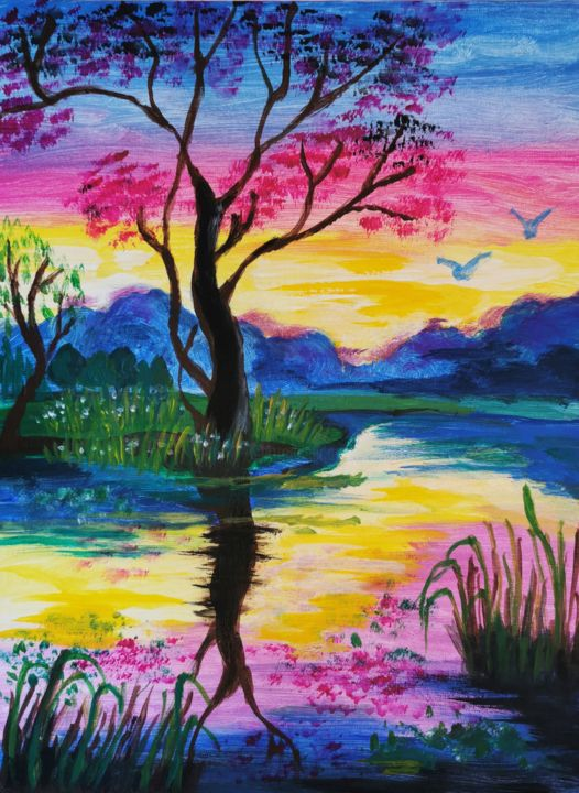 """Painting titled """"Hot evening sunset"""" by Anabell Rose, Original Art, Acrylic"""