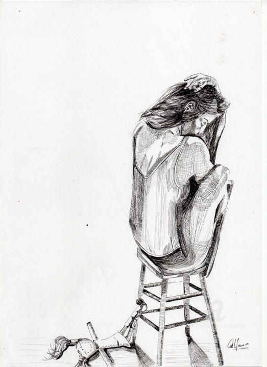 """Drawing titled """"Mejor no te cuento…"""" by Analía Alfano, Original Art, Ballpoint pen"""