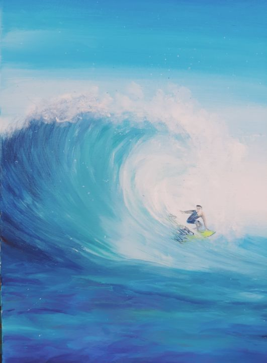 """Painting titled """"Surf"""" by Ana-Maria Iancu, Original Art, Acrylic Mounted on Stretcher frame"""