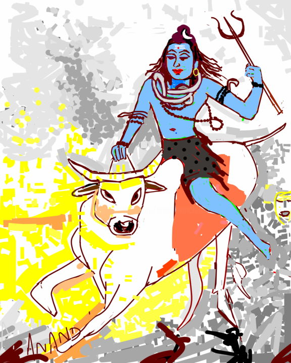LORD SHIVA AND THE BULL - Arts numériques, ©2017 par Anandswaroop Manchiraju -                                                                                                                          Abstract, abstract-570