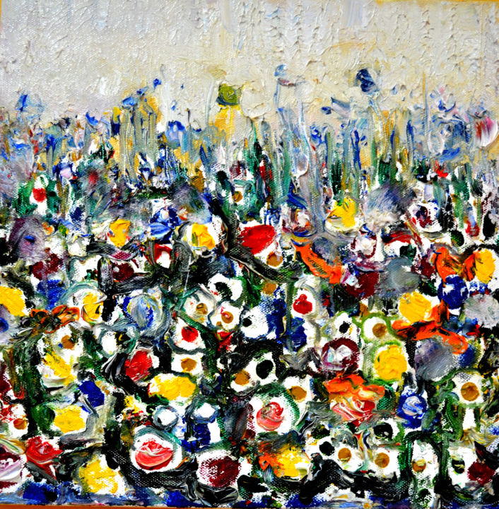 """Painting titled """"FLOWERS AND FLOWERS…"""" by Anandswaroop Manchiraju, Original Art, Oil"""