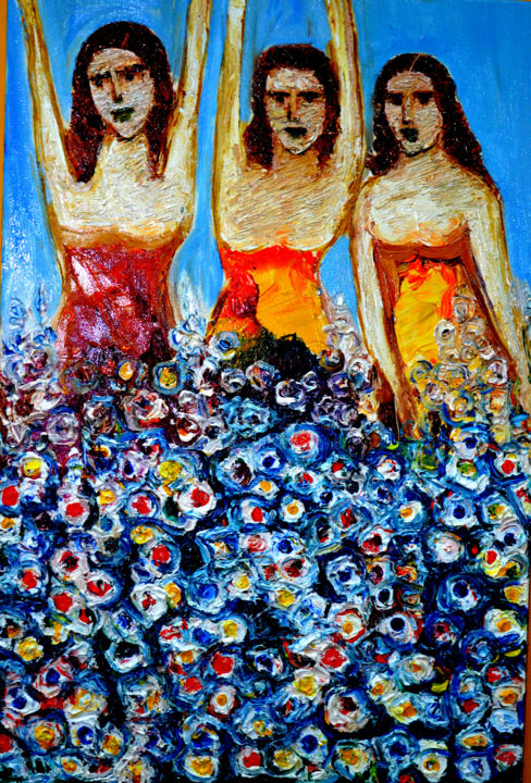 """Painting titled """"GIRLS WITH FLOWERS"""" by Anandswaroop Manchiraju, Original Art, Oil"""
