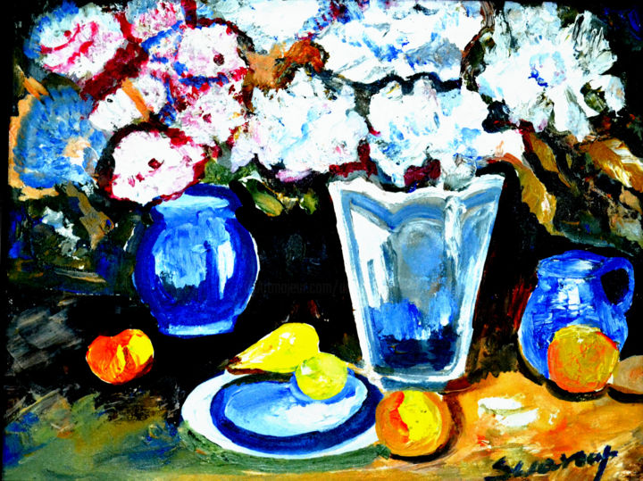 STILL-LIFE-7,ACRYLICS - Painting,  30 in ©2009 by Anandswaroop Manchiraju -                                                            Impressionism, Canvas, Still life, STILL-LIFE-8 ACRYLICS