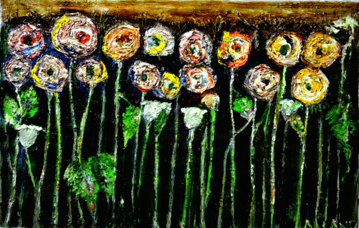 """Painting titled """"ABSTRAC ROSES"""" by Anandswaroop Manchiraju, Original Art, Other"""