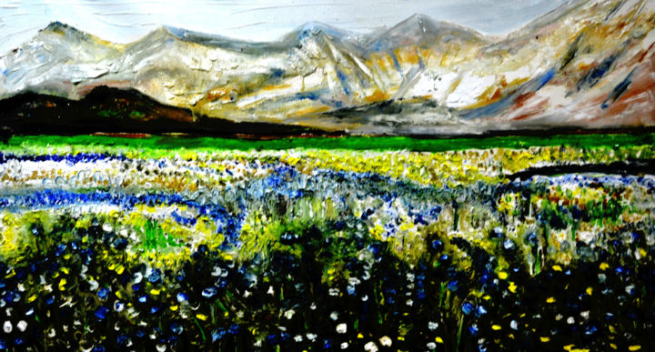 """Painting titled """"VALLEY OF FLOWERS-7"""" by Anandswaroop Manchiraju, Original Art, Oil"""