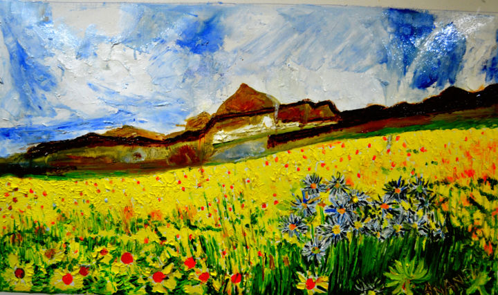 """Painting titled """"VALLEY OF FLOWERS-6"""" by Anandswaroop Manchiraju, Original Art, Oil"""