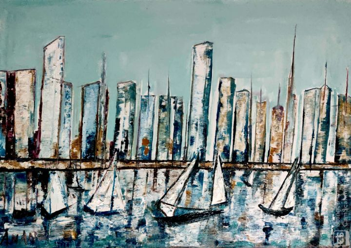NEW YORK SKYLINE - Painting,  31x43x1 in, ©2019 by Anandswaroop Manchiraju -                                                                                                                                                                                                                          Abstract, abstract-570, Seascape, NEW YORK SKY LINE