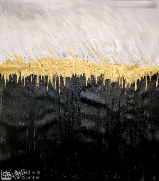 GOLDEN FOREST - Painting,  11.8x10.6x0.4 in, ©2019 by Anandswaroop Manchiraju -                                                                                                                                                                                                                          Expressionism, expressionism-591, Landscape, GOLDEN FOREST