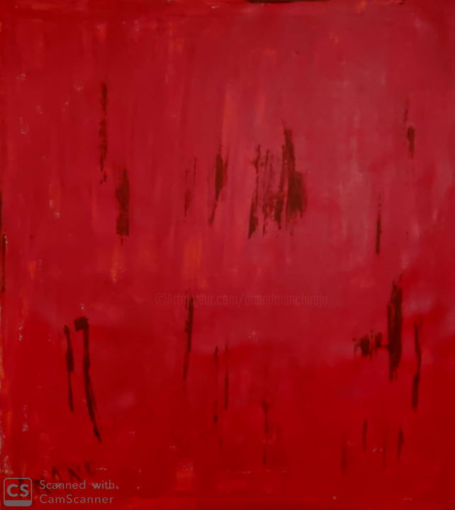 ABSTRACTION IN RED - Schilderij,  30x27x1 in, ©2019 door Anandswaroop Manchiraju -                                                                                                                                                                                                                          Abstract, abstract-570, Abstracte kunst, ABSTRACTION IN RED