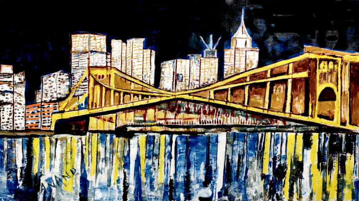 CITY OF BRIDGES - Malerei,  26x45x1 in, ©2020 von Anandswaroop Manchiraju -                                                                                                                                                                                                                          Impressionism, impressionism-603, Stadtlandschaft, CITY OF BRIDGES