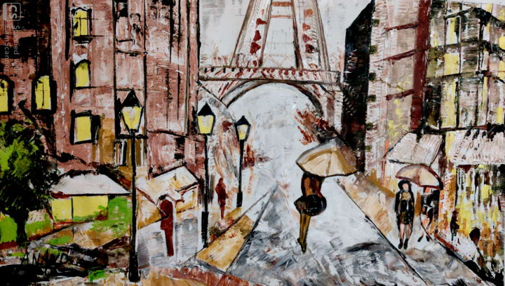 PARIS BEAUTY - Painting,  25x45x1 in, ©2020 by Anandswaroop Manchiraju -                                                                                                                                                                                                                          Impressionism, impressionism-603, Cities, PARIS BEAUTY