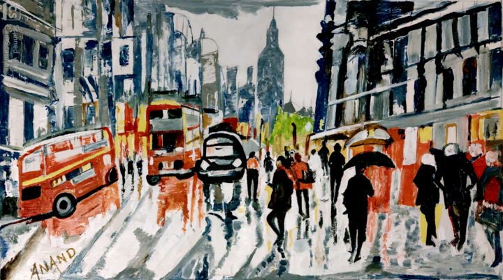 A RAINY DAY IN PARIS - Painting,  25x45x1 in, ©2020 by Anandswaroop Manchiraju -                                                                                                                                                                                                                          Impressionism, impressionism-603, Cities, A RAINY DAY IN PARIS