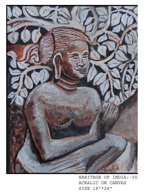 seated woman in javanese manner - Painting,  24x18 in, ©2007 by Anandswaroop Manchiraju -                                                                                                                                                                          Figurative, figurative-594, seated woman in javanese manner