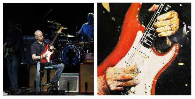 MARK KNOPFLER - Painting,  160x60 cm ©2012 by Ananou -                            Contemporary painting, Photo / peinture huile sur toile