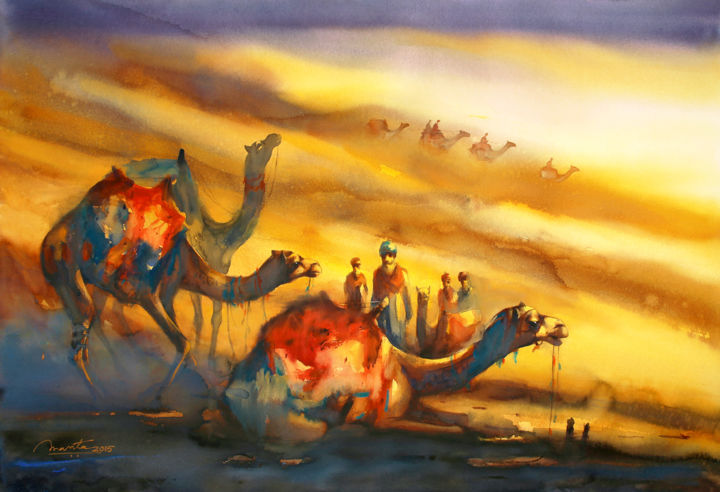 Golden Desert II - Painting,  76.5x114.5x0.5 cm ©2015 by Ananta Mandal -                                                                                                                                                Impressionism, Paper, Animals, Asia, Colors, Culture, Landscape, Men, Nature, Travel, Rajasthan, India, Desert, Dunes, Sand, Tribes, Nomads, Animals, Colors