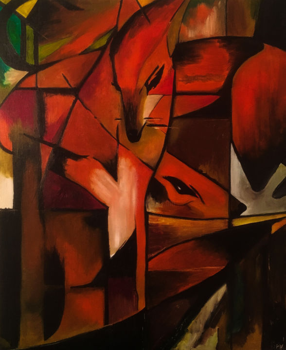 """Painting titled """"Foxes"""" by Anastasia Copella, Original Art, Oil"""