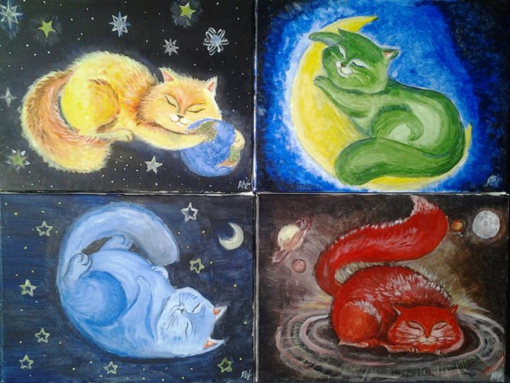 Universalcats - Painting,  30x40x1.5 cm ©2014 by Anastasia Valuiskaya -                                                    Canvas, Cats, Outer Space