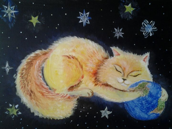 Universalcat - Painting,  30x40x1.2 cm ©2014 by Anastasia Valuiskaya -                                                    Canvas, Cats, Outer Space