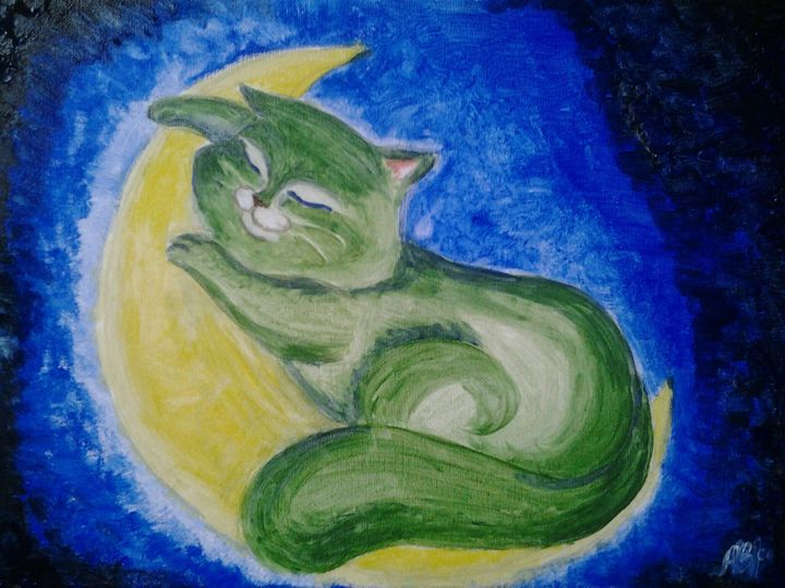Universalcat2 - Painting,  30x40x1.5 cm ©2014 by Anastasia Valuiskaya -                                                    Canvas, Cats, Outer Space
