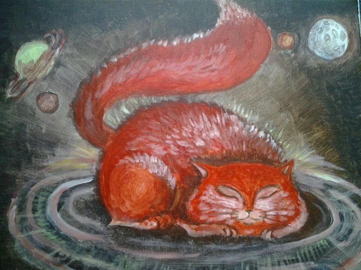 Universal cat3 - Painting,  30x40x1.5 cm ©2014 by Anastasia Valuiskaya -                                    Cats, Outer Space