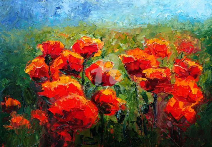 Red summer passion, oil painting of poppies field - Painting,  13.8x19.7x0.2 in, ©2019 by Anastasia Arsenova -                                                                                                                                                                                                                                                                                                                                                                                                                                                                                                                                                                                                                                                                                                                                                                                                                                                                                                                                                                                                                                                                                                                                                                                      Expressionism, expressionism-591, Botanic, Flower, Landscape, poppy fields, red poppies, red flowers, flowers landscape painting, impasto painting, textured art, bright colors, modern impressionism, contemporary art landscape, colorful landscape, painting flowers, painting poppies, fen shui, knife painting, heavy texture, horizontal painting, bedroom painting, love mascot, Floral art decor, flowers on canvas