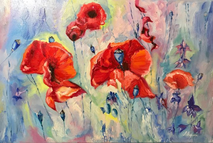 """Painting titled """"'Poppies'"""" by Anastasia Terskih, Original Art, Oil Mounted on Stretcher frame"""