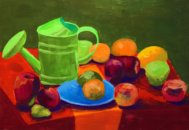 """Painting titled """"Still life with app…"""" by Anastasia Terskih, Original Art, Gouache"""