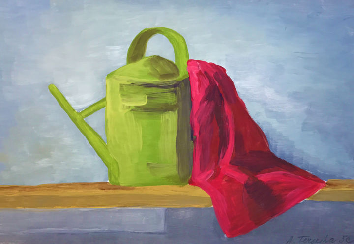 """Painting titled """"STILL LIFE WITH WAT…"""" by Anastasia Terskih, Original Art, Gouache"""
