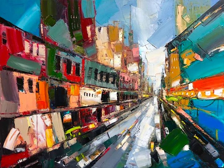 Hollywood LA - Painting,  18x24 in, ©2019 by Anastasiya Kimachenko -                                                                                                                                                                                                                                                                                                                                                              Abstract, abstract-570, Abstract Art, Architecture, Cityscape, street, palette knife