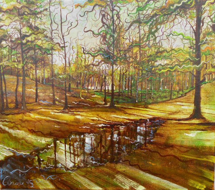 """Painting titled """"Puddle in Haags bos"""" by Anat, Original Art, Oil"""