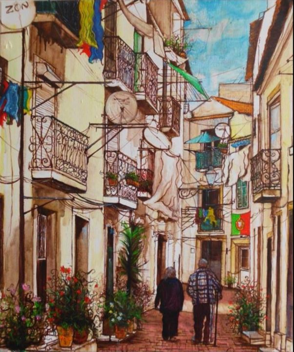 """Painting titled """"Alfama """" by Anat, Original Art, Oil"""