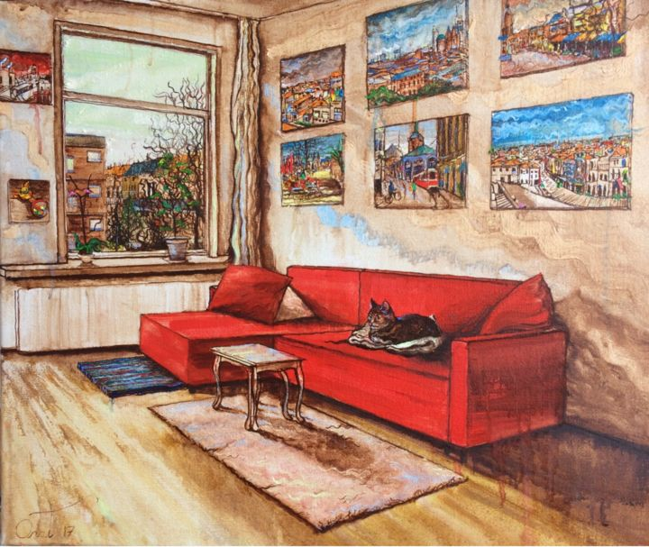 """Painting titled """"Living room"""" by Anat, Original Art, Oil"""