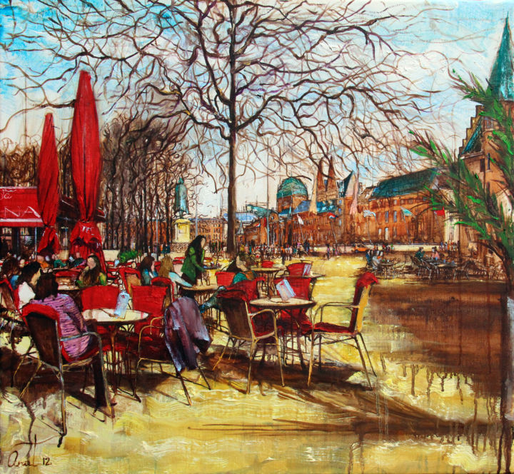 """Painting titled """"Cafe In Den Haag"""" by Anat, Original Art, Oil"""
