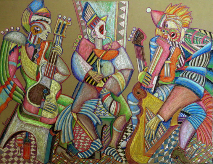Trio at the geometric parquet - Painting,  70x50 cm ©2002 by Sivkov Anatoliy -                            Abstract Expressionism, Oil pastel work - guitars, drums, saxophones, alkogl, rhythm, jazz, rock, classical music proliferate in myriad reflections and variations - the body of musicians is a musical instrument by itself
