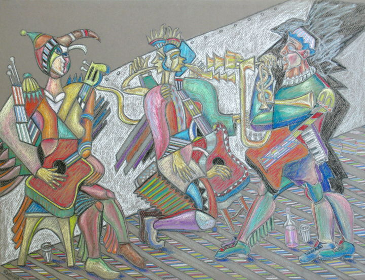 The trio on the ramp - Painting,  70x50 cm ©2002 by Sivkov Anatoliy -                            Abstract Expressionism, Trio of twins - the music is twofold in countless variations and reflections - the body of musicians is a musical instrument by itself