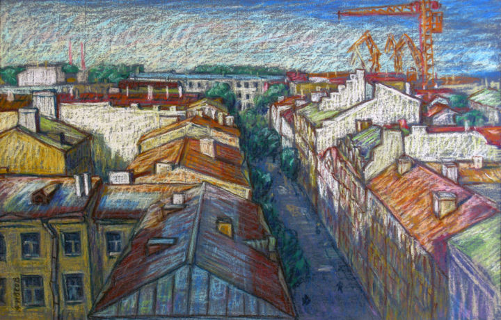 024.jpg - Painting,  35x50 cm ©2012 by Sivkov Anatoliy -                            Realism, Kolomna, old, St. Petersburg, landscape, sea port, pastel, paper, roof, the sun, street