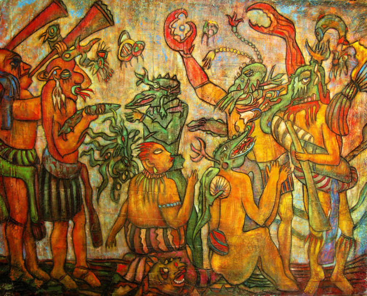 Maya - Painting,  80x100 cm ©2003 by Sivkov Anatoliy -                                                                                                                        Expressionism, Surrealism, Canvas, Animals, Culture, History, Men, Mortality, Maya - a picture based on the Mayan murals