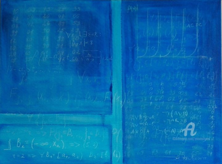 Mathematical logic rules - © 2017 information technology, school blackboard, old school times, color field painting, deep blue monochrom, minimalism modern, office interieur, it-company design, math graphics, physic science Online Artworks