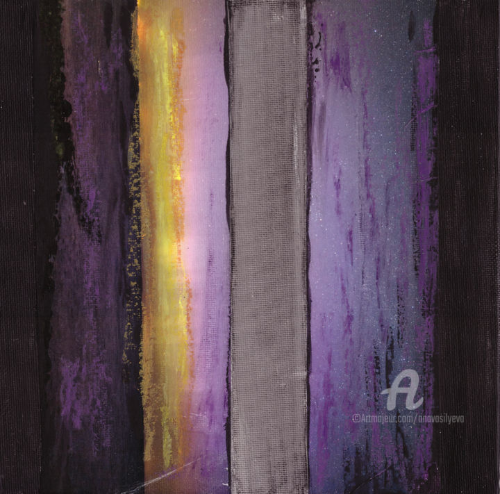 Violet Planet - Painting,  7.9x7.9 in, ©2019 by Anastasia Vasilyeva -                                                                                                                                                                                                                                                                                                                                                                                                                                                                                                                                                                                                                                                                                                                                                                                                                                                                                                                  Abstract, abstract-570, Canvas, Paper, Abstract Art, Dark-Fantasy, Landscape, Science, Science & Technology, violet, vertical colors, science art, science fiction, painting for office, for prints, small paintings, black color, scince collage, Collages