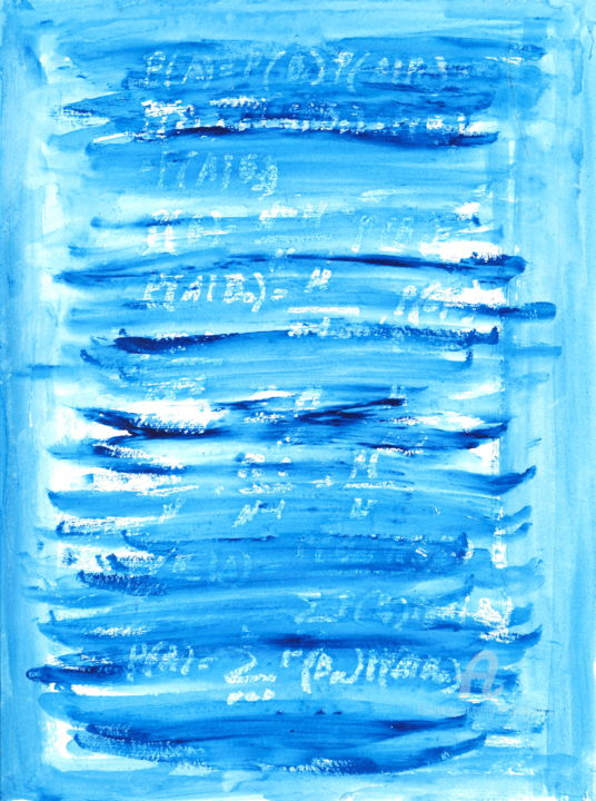 Probability theory - Painting,  15.8x11.8 in, ©2018 by Anastasia Vasilyeva -                                                                                                                                                                                                                                                                                                                                                                                                                                                                                                                                                                                                                                                                                                                              Abstract, abstract-570, Abstract Art, Education, Science, Science & Technology, Science art, mathemitics, blue painting, paper drawing, for teacher, design interieur, minimalistic, lettering, symbole